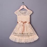 Summer 2015 New Lace Girl Dress Beige Wedding Girl Designer Dresses Girls Clothing Kids dress Free Shipping