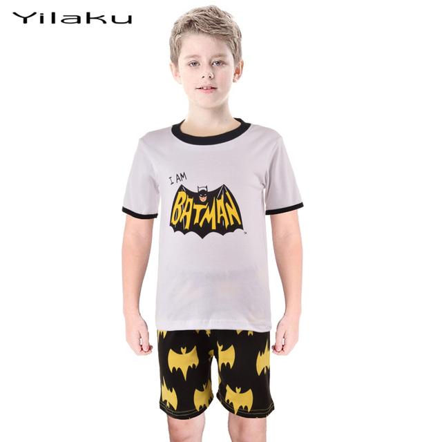 Дети бэтмен пижамы костюм мальчиков мультфильм пижамы пижамы дети Pijamas комплект лета детская одежда pyjama enfant CF209