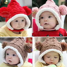 Winter Baby Hat 0-5Y Infant Unisex Multicolored Warm Knitted Hats Two Balls Cap Xmas Gift(China (Mainland))