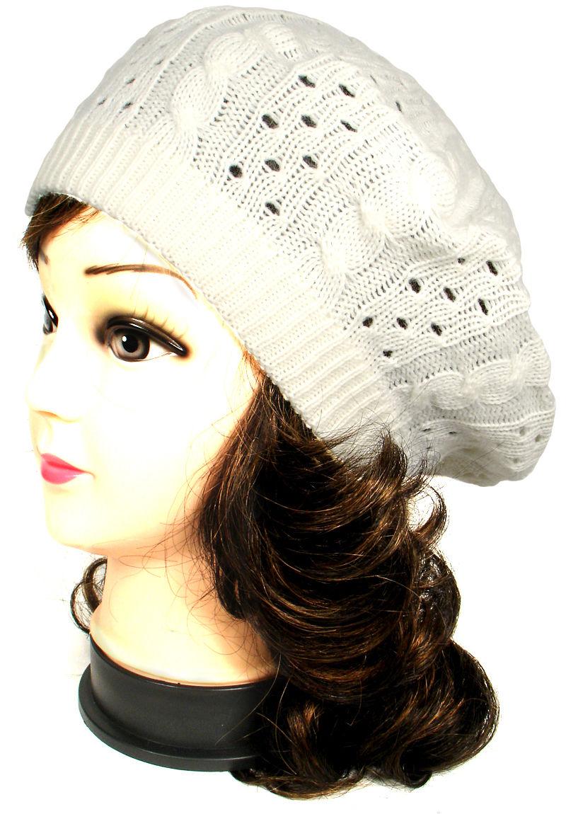 Baggy Beanie Hat Crochet Pattern : Women Fashion Warm Winter Knit Crochet Beret Braided Baggy ...