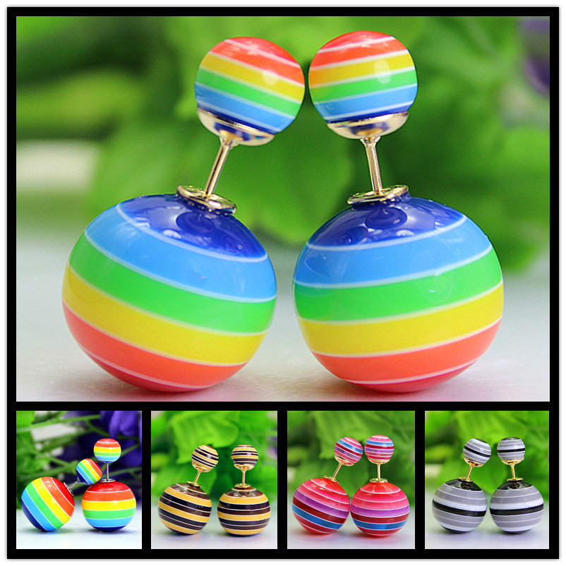 new fashion brand jewelry double pearl stud earrings for women cute rainbow stripe beads earings Christmas gift for girlfriend(China (Mainland))