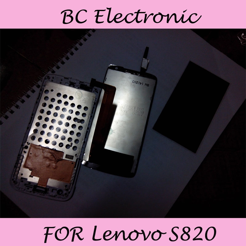 100% Warranty Full LCD Display +touch Screen Digitizer +Red frame FOR Lenovo S820 Free Shipping