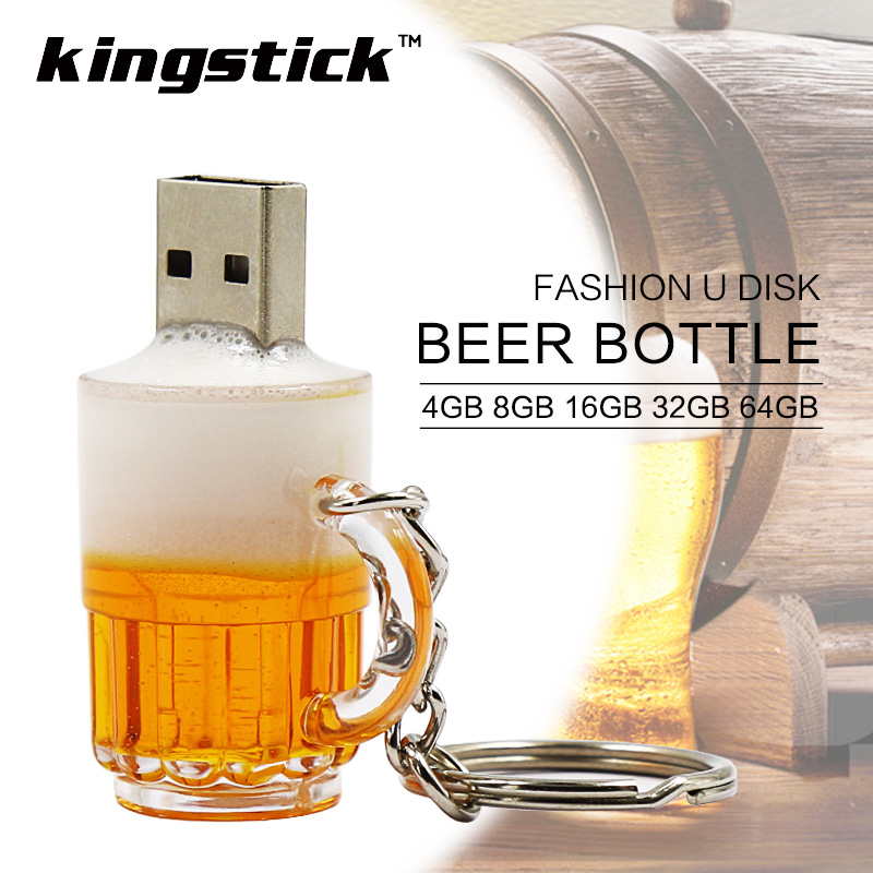 Kingstick mini usb flash drives 4gb 8gb 64GB USB Memory Stick Pen drive gift 16gb 32GB small bulk cheap Beer Cup Bottle Pendrive(China (Mainland))