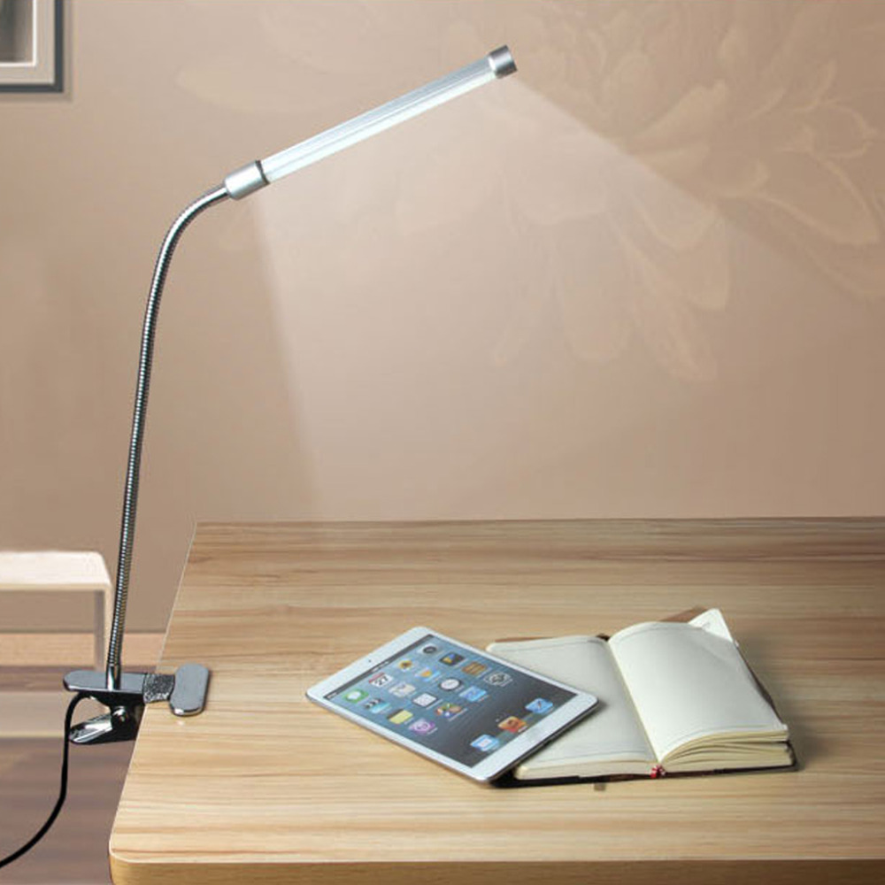Free Shipping Flexible USB Clipper Clip on Adjustable Multi-angles LED Lamp Eye Protection Reading Light Desk Table Lamp Silver(China (Mainland))