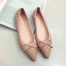 Buy Fashion Women Pointed Toe Flats Shoes Spring Autumn Rivets Bowtie Shallow Slip Woman Ballet Flats Ladies Single Shoes Pink for $17.79 in AliExpress store