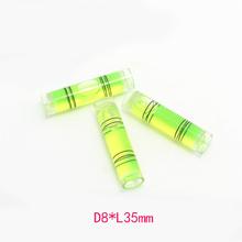 10 unids cilíndrico de plástico nivel de burbuja viales, 8 * 35 mm