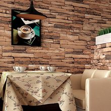 Newest Home Decoration Modern Vintage Natural Wood Pulp Dull Polish Brick Pattern Vinyl 10M Wallpaper Roll Living Room 4 Colors(China (Mainland))