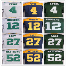 Best quality Men's 4 Brett Favre 12 Aaron Rodgers 27 Eddie Lacy 52 Clay Matthews 87 Jordy Nelson elite jer toel sey,,Size 40-56(China (Mainland))