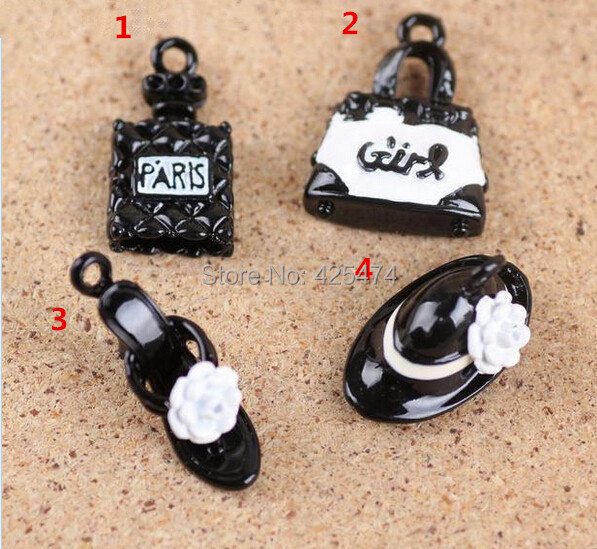 Free Shipping 40PCS/lot Perfume woman Handbag High Heel Shoe Hat Shape Black Color Plated Metal Jewelry DIY Bracelet Charm(China (Mainland))