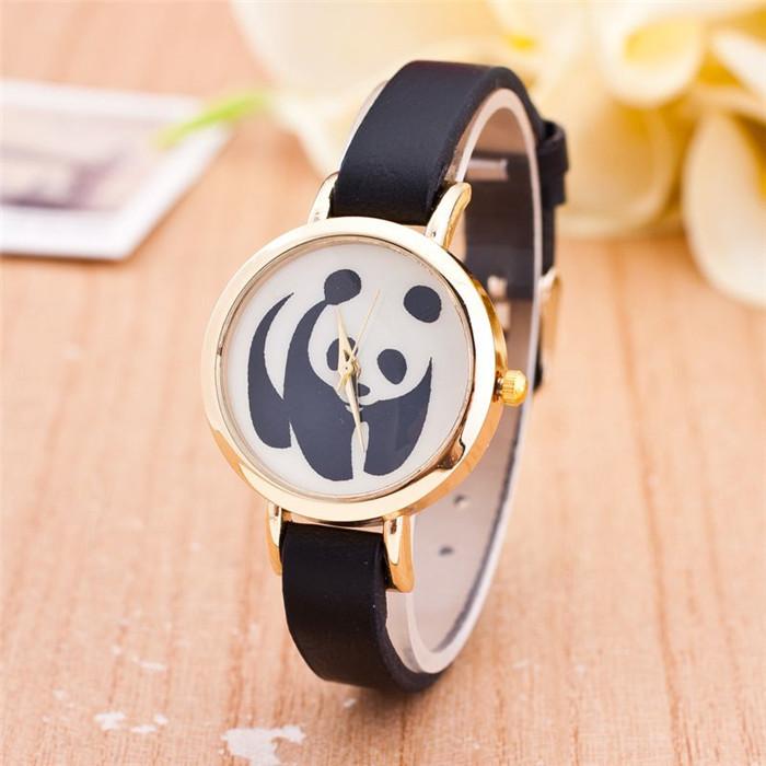 Fashion Casual Antique Panda Watch For Women Ladies Black Leather Narrow Band Vintage Quartz Wristwatch Relogio Feminino Relojes(China (Mainland))