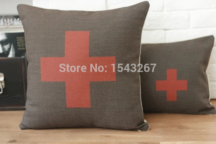 Handmade 100% cotton and linen 45cm*45cm Red Cross Swiss flag pillow sofa pillow cushion pillow cover pillow sham