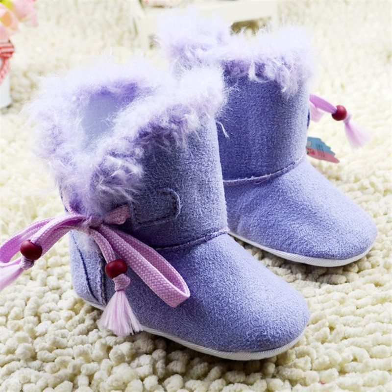 2016 Hot Sale New Discount Baby Girls Shoes Solid Flock Soft Bottom With Bow Baby Moccasins First Walker Infant Boots(China (Mainland))