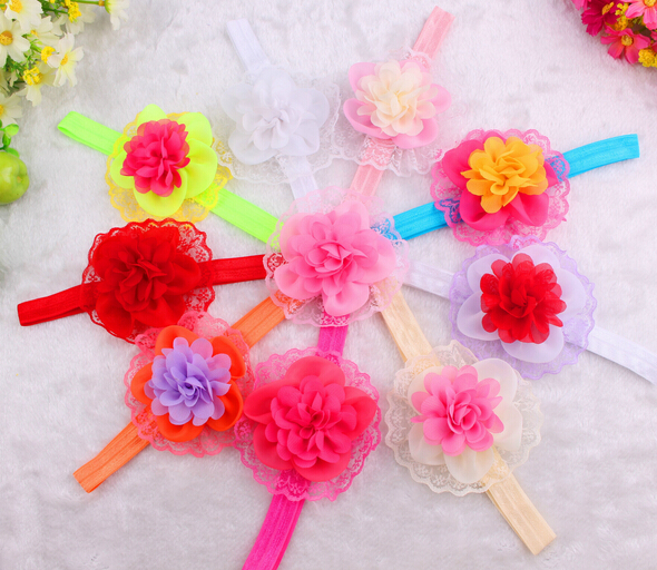 2015 Elastic Headbands colorful flower baby girl hair accessories infant lace flower hairbands headwear(China (Mainland))