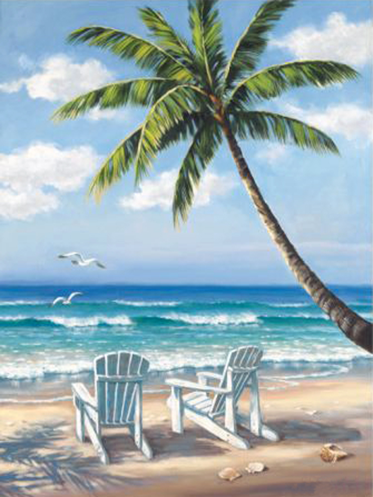 Cheap Beach Chair Paintings on seaside home decor