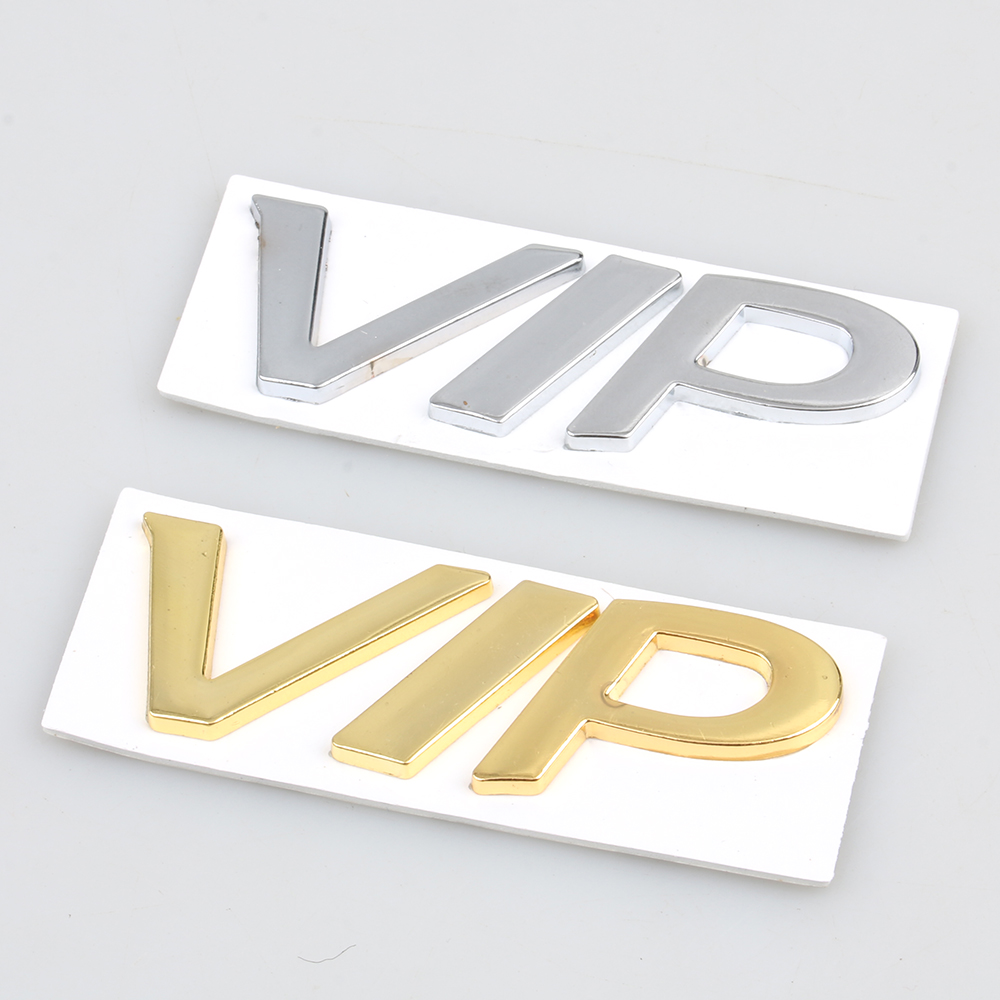 Chrome Sliver Gold Metal 3D VIP Logo Decal Sticker Emblem Bagde Use For BMW Mercedes Jeep Honda Auto Car Styling Accessories(China (Mainland))