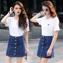 Fashion 2016 Women Denim Skirt Summer High Waist Short Skirt Vintage Sexy Front Row Buckle Skirts Womens