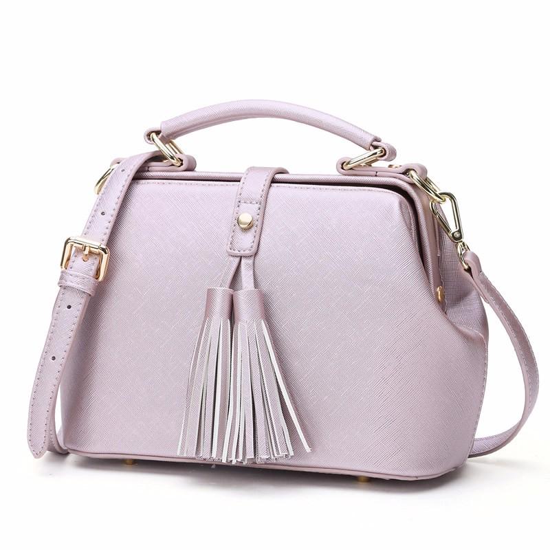 Large Retro Doctor Bag Stylish Tassel Bag Women Fashion Handbag Classy Shoulder Bag Lady Designer Pink Black PU Leather Hard Bag
