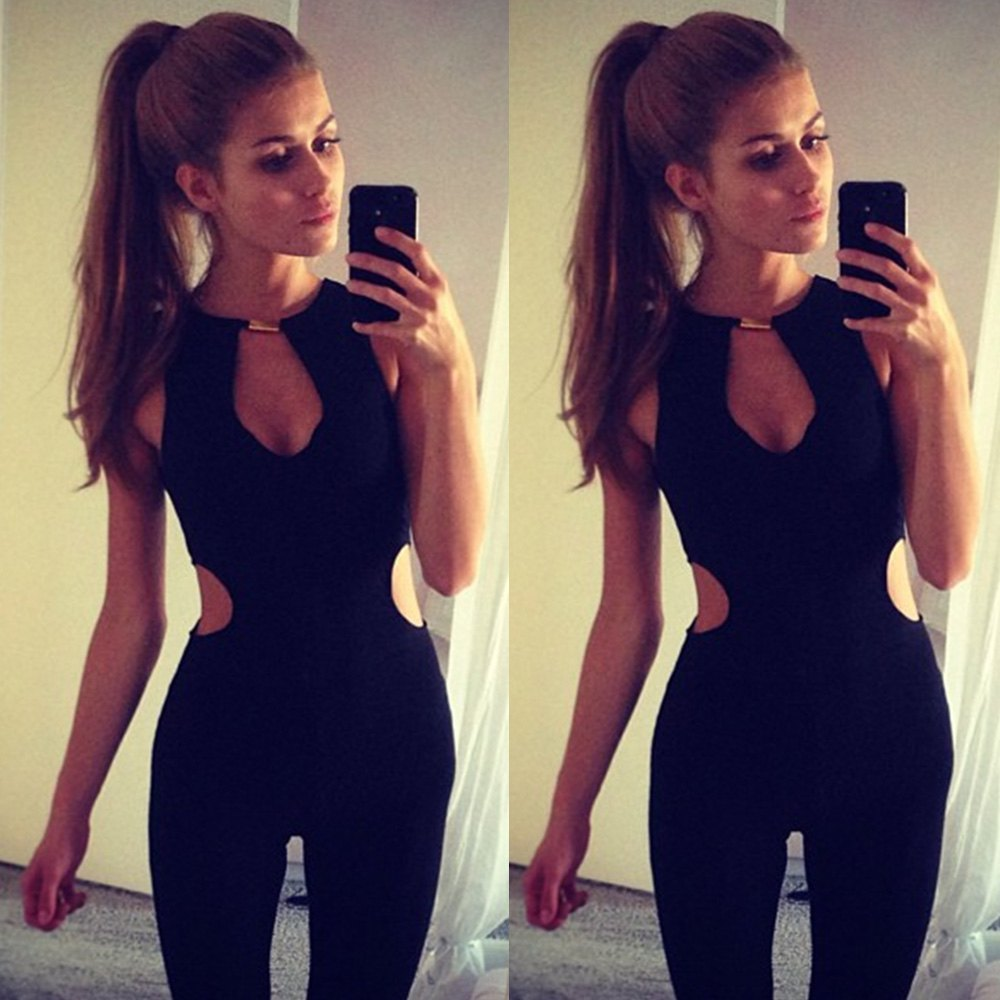 New 2016 Fashion Ladies Bodysuit Club Wear Overalls For Women Sexy Round Neck Sleeveless Hollow Out Women's Jumpsuit Rompers(China (Mainland))