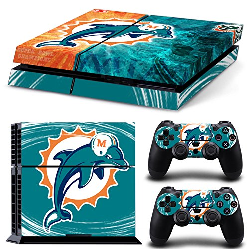 NFL 15 Teams AVAILABLE Miami Dolphins Vinyl Decal PS4 Skin Stickers Wrap for Sony PlayStation 4 Console and 2 Controllers Skins(China (Mainland))