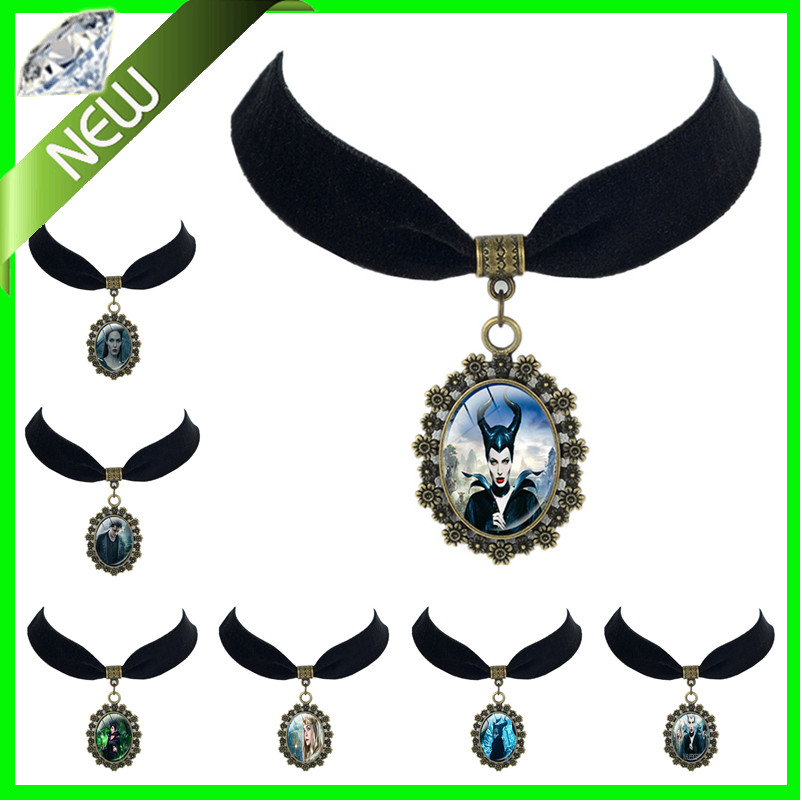 Sleeping Beauty Aurora Maleficent pendant Princess Princess Aurora Black Velvet Choker necklace King Stefan Pendant(China (Mainland))