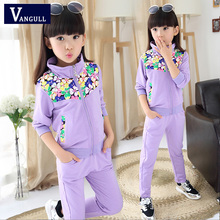 The 2016 winter hot new fashion girl children suit collar movement two piece floral mosaic(China (Mainland))