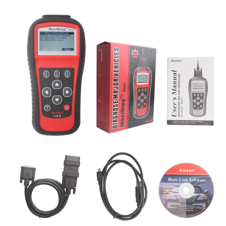 2016 New Arrival AUTEL MaxiDiag Pro MD801 4 in 1 OBDII Code Scanner (JP701+EU702+US703+FR704) MD 801 Auto Diagnostic Tool(China (Mainland))