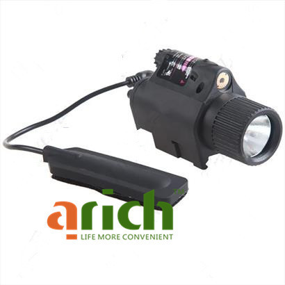 Quick Detachable Tactical Flashlight with Red 5mW Laser Sight Pointer Combo