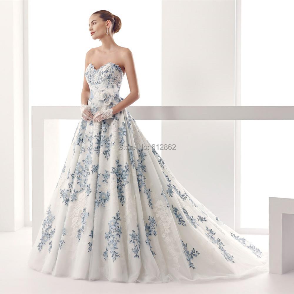 White And Royal Blue Wedding Dresses