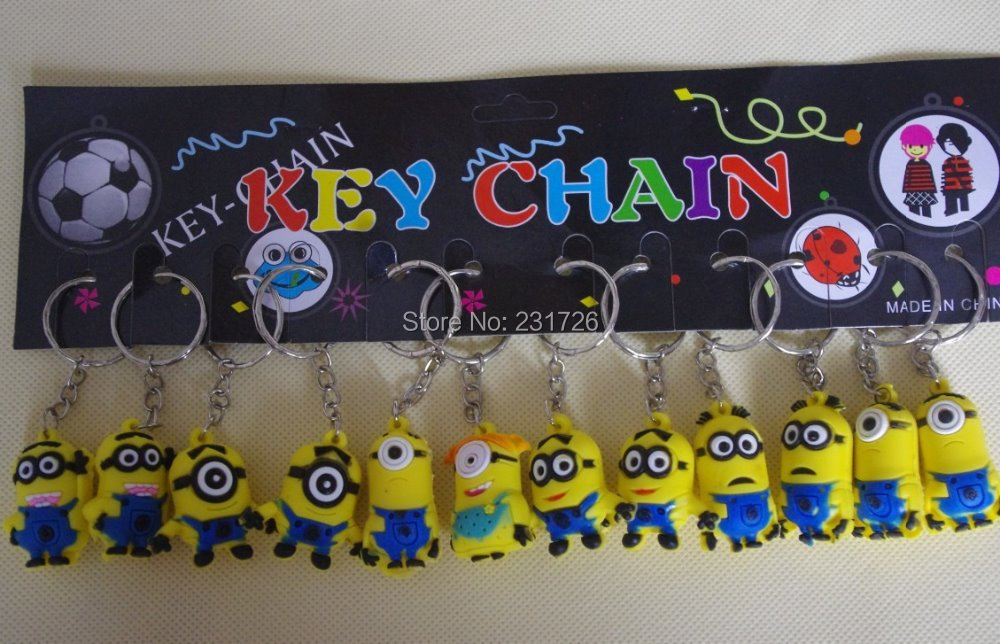 Despicable Me Key chain Movie Anime Minion toys Figure Pendants 12pcs/set Free Shipping(China (Mainland))