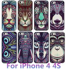 Новинка милый ацтеков животных чехол для Apple , iPhone 4 4S слон тигр сова орангутанг котенок волк окрашенные назад лаки