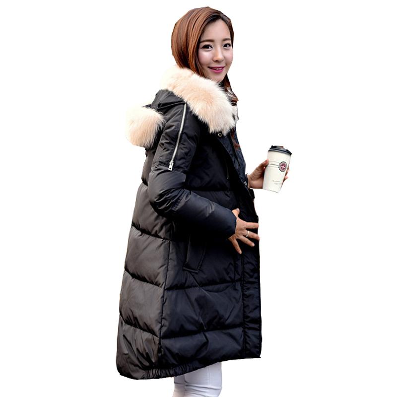 2016 Новый женский корейский большой размер мех лисы воротник с капюшоном куртки мода женщин длинные вниз пальто Dcuk рыхлый тонкий теплый Парок JA119