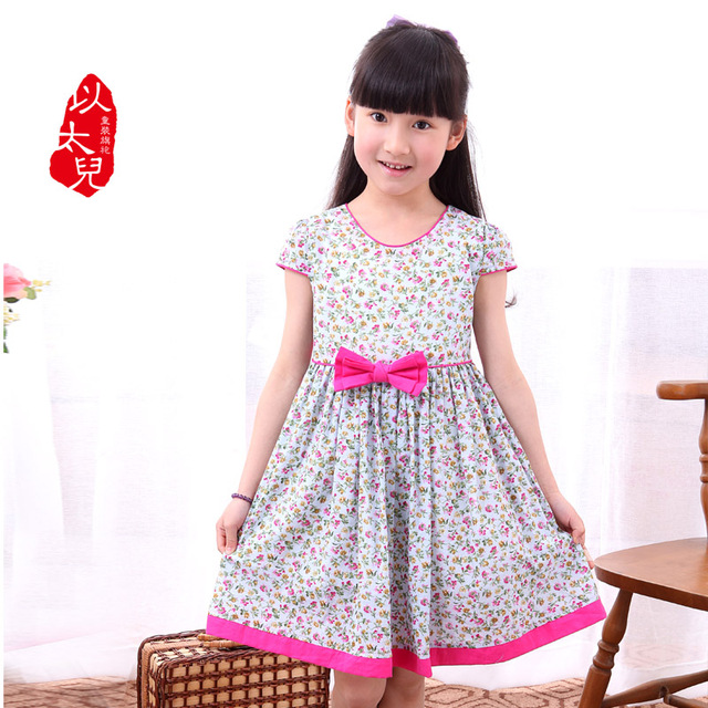 2013 100% cotton child dress one-piece preppy style children's clothing female child