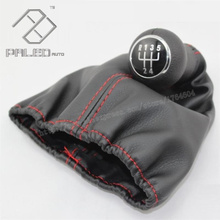New 5 Speed Gear Shift Knob With Leather Boot With Red Line For VW Golf 3 MK3 92-98/T4 91-04/Vento 92-98/1H0711141A+1H0711115A(China (Mainland))