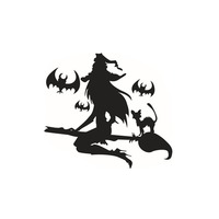 New Halloween Suppliers Props Bat Witch Decor Sticker Living Room Window Glass Decorative Wall Stickers Gift
