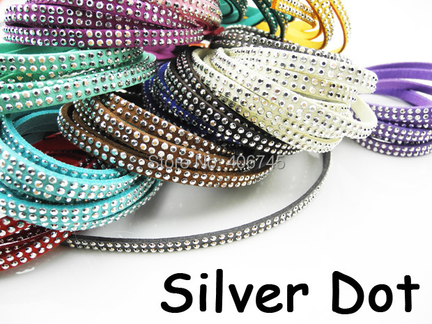 5pcs 5mmx1.5mm Flat Faux Suede Velvet Leather Cord with Double Silver Metal Dot -1M/pcs NCS<br><br>Aliexpress