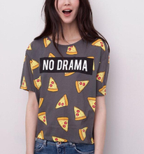 Women pizza letters print T shirt cute cake NO DRAMA tops short sleeve shirts casual camisas femininas tops DT172(China (Mainland))