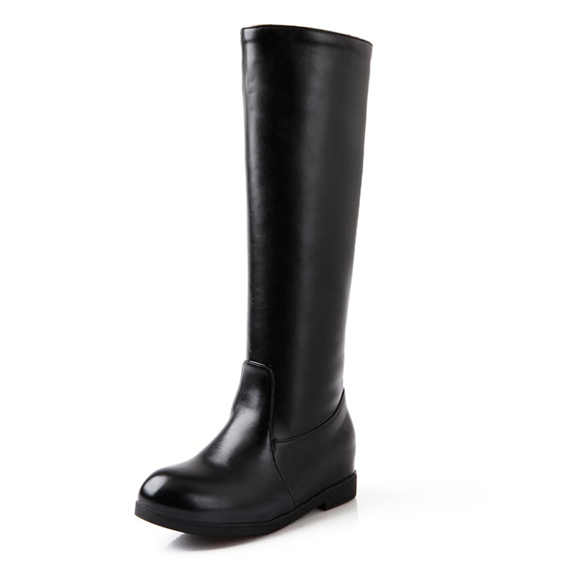 2015 winter shoes black wide thigh high boots with