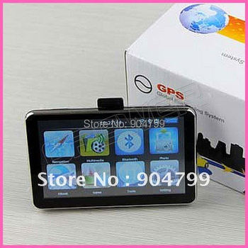 Free shipping HD 800*480 5inch GPS Navigator BT&AV IN 4GB DDR 128M load new 3D map