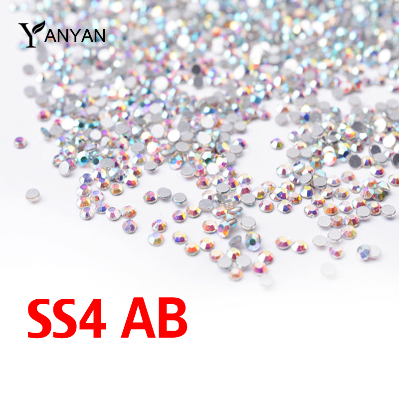 SS4 Crystal ab Nail Rhinestones,1440pcs/lot Flat Back Non Hotfix Glitter Nail Stones,DIY 3d Nail Phones Decorations Supplies(China (Mainland))
