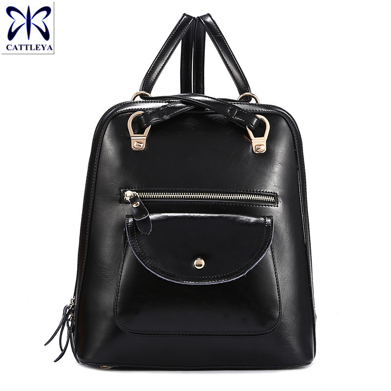 2016 Hot Sale Women's Genuine Leather Backpack Ladies Casual Backpack Travel Bags Western College Style Backpacks Zip Mochila(China (Mainland))