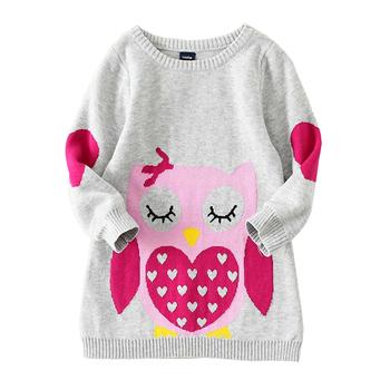girls autumn sweater 2015 new fashion children long sleeve knitting warm clothing kids cartoon cotton sweaters W186