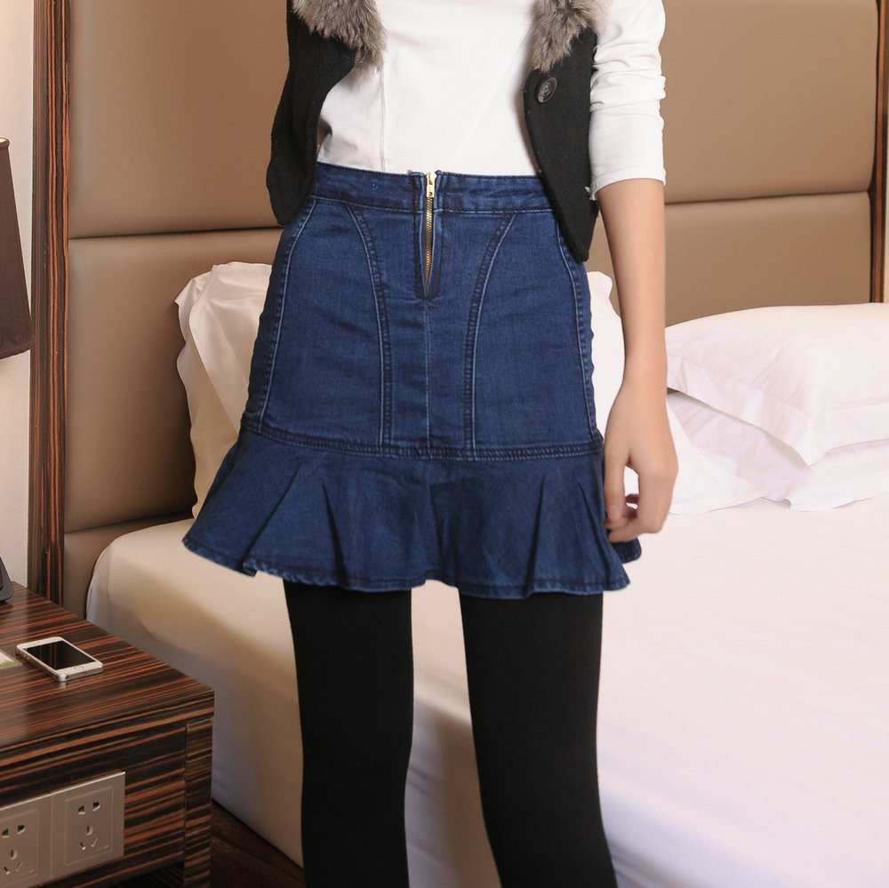 2015 winter new korean pop flounced denim skirt