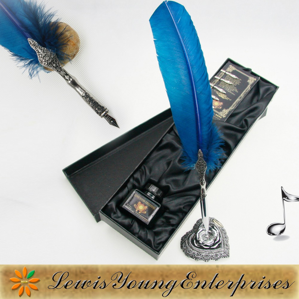 Calligraphy Blue Feather Quill Pen, Ink & 5 Nibs Gift Set-in Multi ...