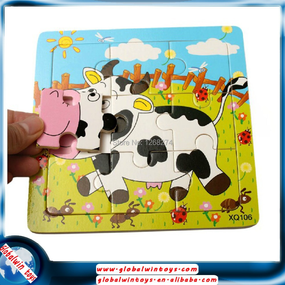 1-3 years old Children's early education wooden puzzle 9 pieces of 10 puzzle magic board baby toys(China (Mainland))