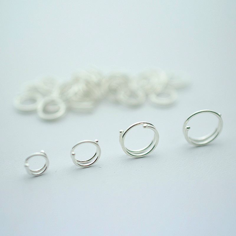 Free shipping silver-plated earrings hoop earrings female handmade accessories earrings small anti-allergic male Women(China (Mainland))
