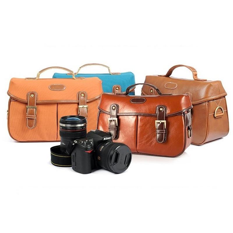 New Vintage Look Faux Leather canvas Camera Case Messenger Bag DSLR Lens  -  Digital_online007 store