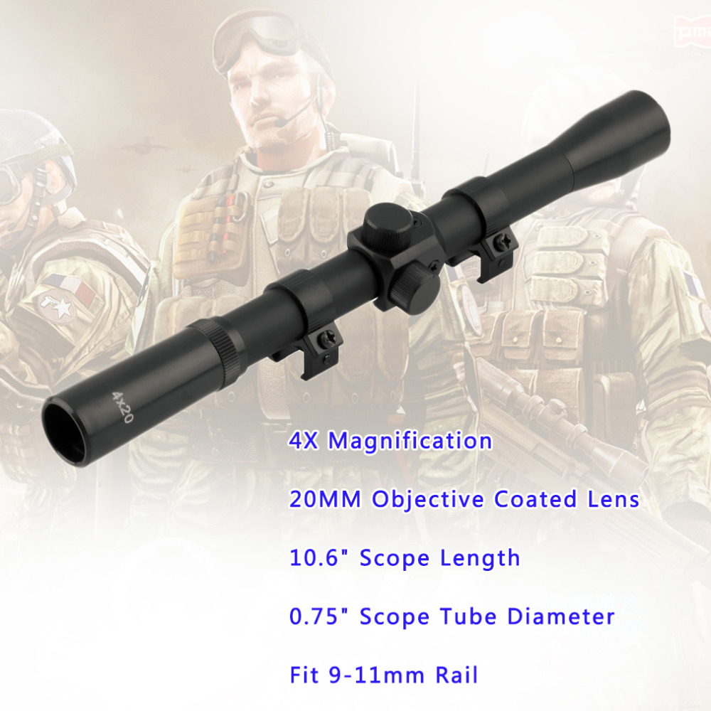 1Pcs Mounts Hunting 4x20 Air Rifle Telescopic Scope Sights Sniper Scope Riflescopes Black Wholesale