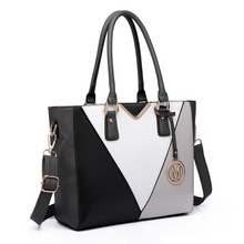 Buy Miss Lulu New Fashion Women V Shape Patchwork PU Leather Gray Handbag Shoulder Tote Hand Bag Cross Body Satchel LG6632 for $36.80 in AliExpress store