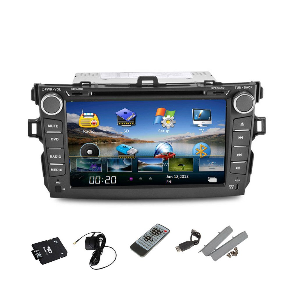 In Dash Car Stereo for Toyota Corolla 8 Inch 2 DIN Car DVD Player GPS Navigation Bluetooth Subwoofer SWC Radio Car Video Audio(China (Mainland))