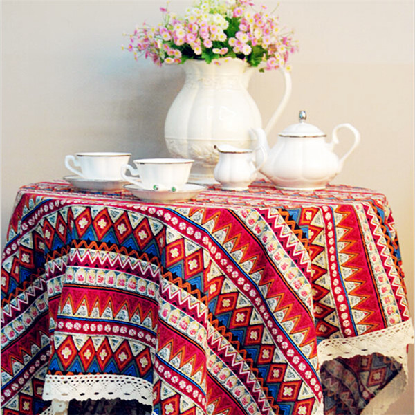 Striped Embroidered Tablecloths Blue Red Round Table Cloth European Home Table Cloth Bohemian Striped Embroidered Tablecloths(China (Mainland))